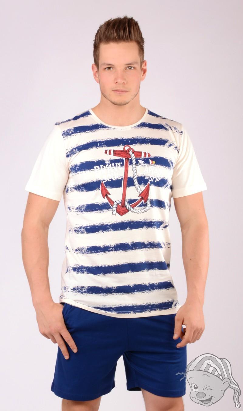 ebc4ef966b8 Pánské pyžamo šortky Velká kotva S modrá
