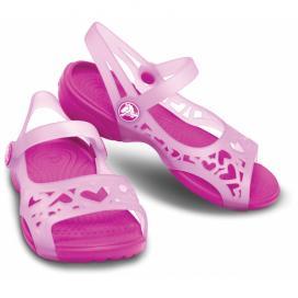 CROCS Adrina Hearts Sandal - barva Carnation/Neon Magenta