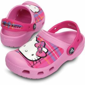CROCS Hello Kitty Plaid Clog - barva Carnation/Neon Magenta