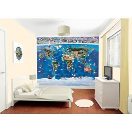Walltastic 3D Tapeta Mapa světa (2438 mm x 3048 mm)