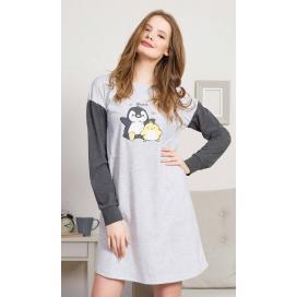 Dámská noční košile s dlouhým rukávem Tučňák a kuře