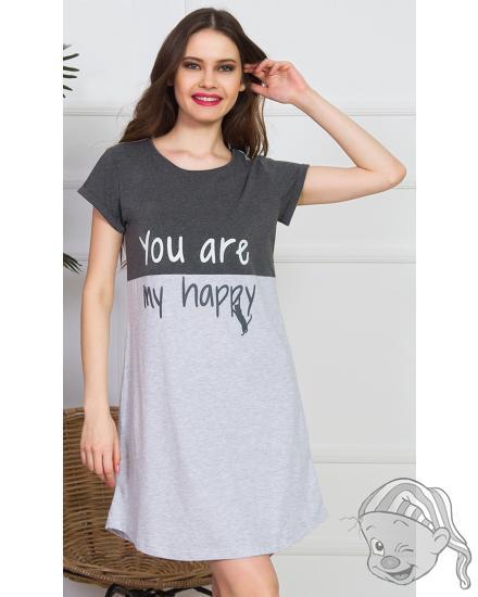 Dámská noční košile s krátkým rukávem You are my happy